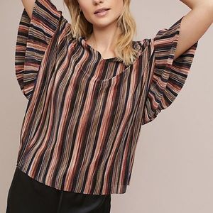 Anthropologie Bienville Pleated Flutter Blouse Top